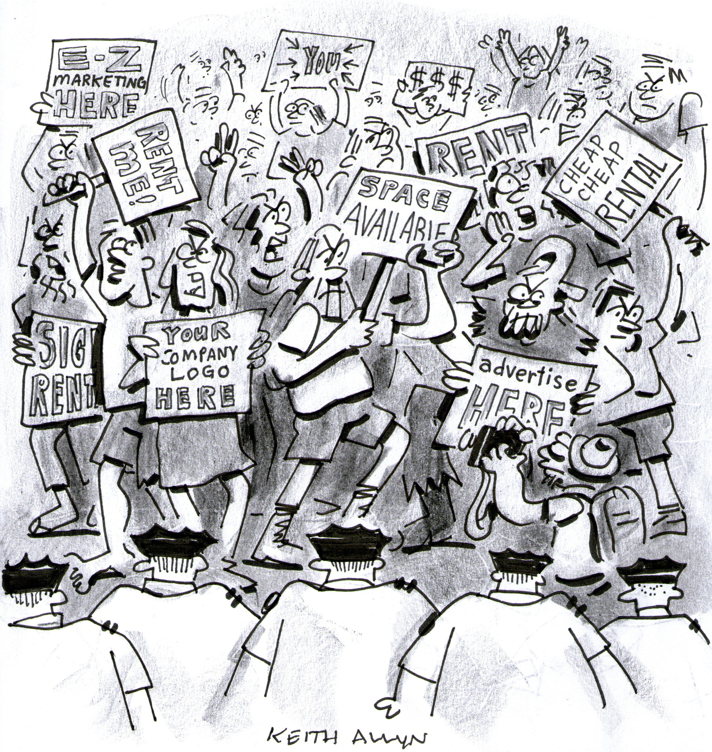 occupy wall street cartoon, protest art, advertise here, your company logo here, space available cartoon, keithallyn